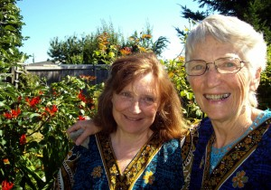 Theresa (left) and Me in Her Yard